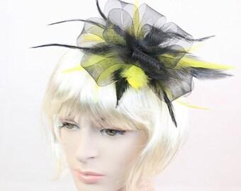 Black Fascinator Yellow Fascinator Black & Yellow Fascinator Black Feather fascinator Weddings Evening wear Races Hair Accessory Hand made