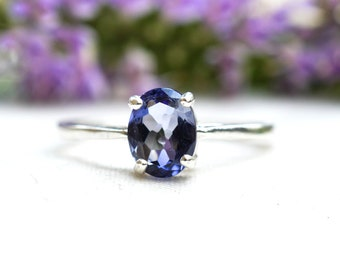 Natural Oval Cut Iolite Ring with 925 Sterling Silver *Free Worldwide Shipping*