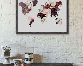 World map poster travel quote graduation gift world map floral map poster world map poster wedding guestbook floral world map spring gumiabroncs Images