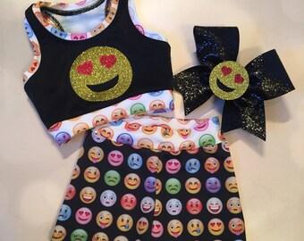 Emoji Heart Sports Bra Crop Top, Spandex Shorts, and optional Matching Cheer Bow Set / girls dancewear / cheer bra / 3D bow center