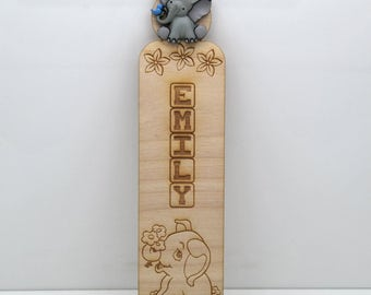 Personalized Tiny Trunks Elephant Bookmark - Any name! Great gift for kids
