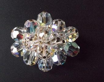 Vintage Oval Cluster Crystal Aurora Borealis  Brooch Wedding, Bridal, Ocassion