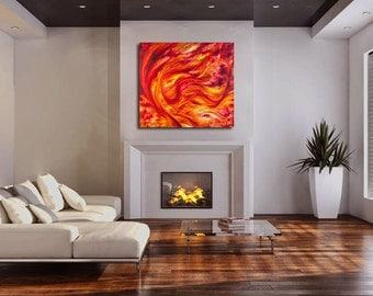 LARGE FIRE ABSTRACT contemporary art canvas giclee print of goddess acrylic painting red, orange, yellow by Kauai Hawaii artist Donia Lilly