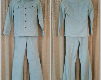 LEVIS Suit 1970s Panatela Light Green Brushed Denim Size Small//Hippie Hipster 1970s Fashions  Men Levis Jacket Rare Levis Mens Fashion