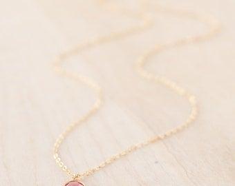 Bridesmaid Gift - Bridesmaid Necklace - Birthstone Necklace - Birthstone Bridesmaid Jewelry - Single Stone Necklace - Tiny Gold Birthstone