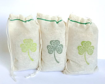 St. Patrick's Day Clover Treat bags set 15 3X5 with stamp gift sack