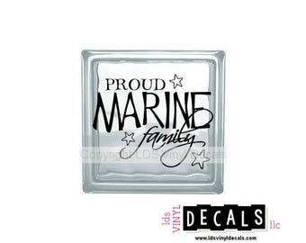 PROUD MARINE Family - Patriotic and Military Vinyl Lettering for Glass Blocks - USA Car Decals