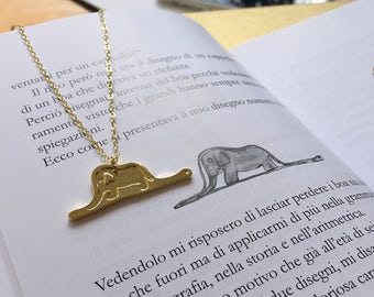 Le Petit Prince - The Little Prince - Inspired Necklace - Hat Boa Elephant Drawing 14K Gold Plated Antoine de Saint-Exupéry
