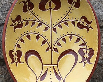 Seven Tulips Sgraffito Bowl  - Pennsylvania German Redware Pottery -  SG516