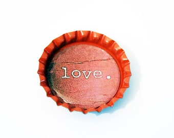 Cute Red Bottlecap Magnet with Valentine 'Love' Design