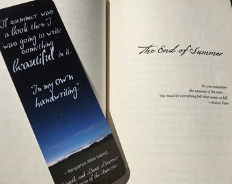 If Summer was a Book - Aristotle and Dante Discover the Secrets of the Universe by Benjamin Alire Sáenz Quote Bookmark