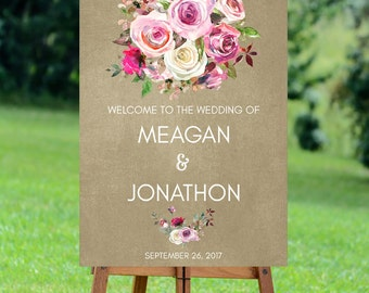 lilac roses wedding sign, welcome wedding sign,  custom wedding sign, printable wedding sign, floral welcome sign, digital wedding sign,