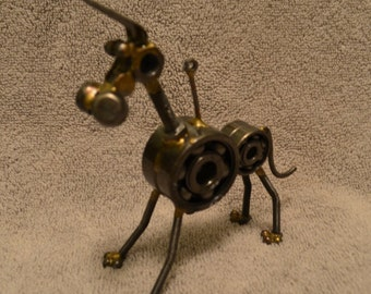 Unique Repurposed Metal Robot Dog Sculpture  Nuts Bolts Wires Screws Chains Great Dane Giant Schnauzer Mutt
