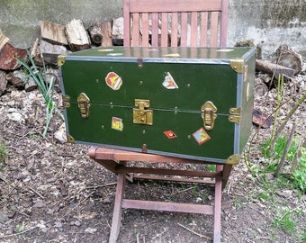 Vintage Small Upright Travel Decal Trunk Child's Doll Trunk