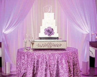 Lavender Sequin Tablecloth for 5ft round table | Sparkly Sequined Table Overlay for Purple Wedding Cake table Events Bridal Shower decor