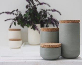 Ceramic jars set.Spice storage jar,spices jar,housewarming gift,bathroom storage,sugar and spice,ceramic vase,kitchen storage,modern planter
