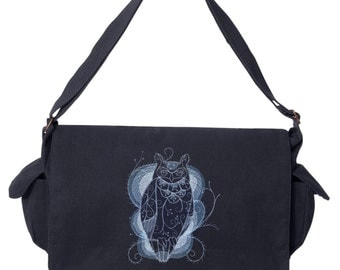 Owl Bag, Owl Messenger Bag, Jack Frost - Owl Embroidered Canvas Cotton Messenger Bag