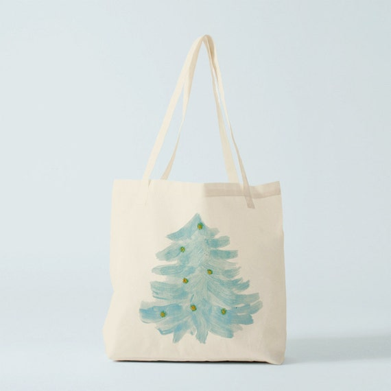 Tote Bag, Blue Christmas Tree, shopper bag, fabric bag, groceries bag, cotton bag, gift woman, gift coworker, novelty gift, canvas bag.