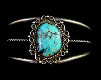 23g Vintage Navajo Sterling Silver Cuff Bracelet w Magnificent Morenci Turquoise! Super Gorgeous Stone in an Elegant Classic!