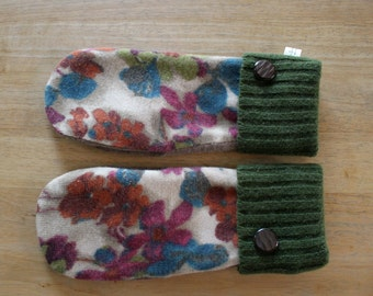 Felted Wool Mittens, Fleece Lined Mittens, Sweater Mittens, Recycled Sweater Mittens