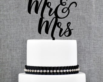 Mr and Mrs Cake Topper, Mr and Mrs Wedding Cake Topper, Wedding Cake Topper, Cake Topper, Calligraphy Cake Topper, Wedding Topper (T370)