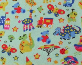 Flannel Fabric - Zoo Light Green - 1 yard - 100% Cotton Flannel