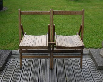 Vintage Pair of Folding Chairs - Henley Regatta - Bench Style