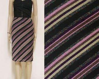 Vintage 90s Skirt Striped Metallic Knee Length High Waist Tight Fitting Vtg 1990s Size XS