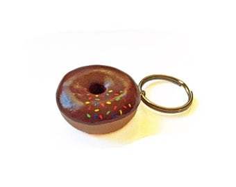 Donut Keychain - Doughnut Keychain - Polymer Clay Keychain - Donut Key Ring - Food Keychain - Cute Keychain - Polymer Clay Food