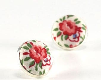 Flower Stud Earrings, Flowers Earring Studs, Summer Roses Earrings, Floral Country Cottage Chic Fabric Button Jewelry, Shabby Elegance Posts