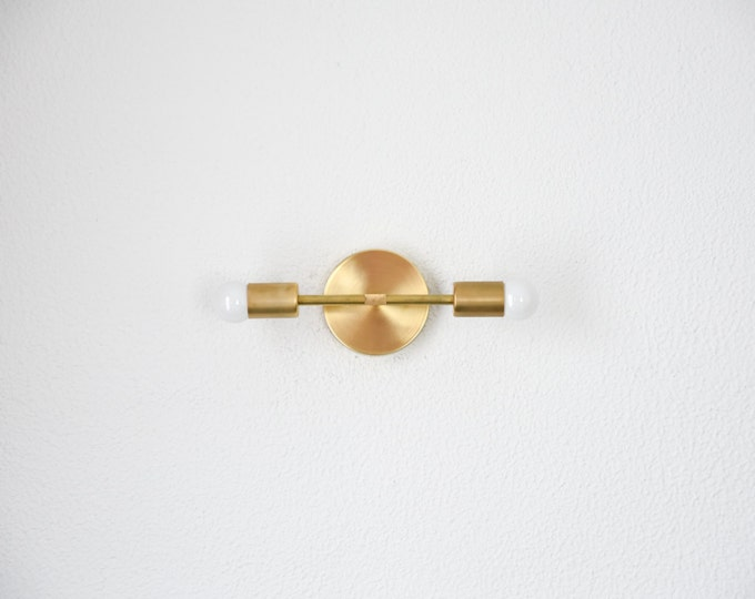 Free Shipping! Wall Sconce Vanity Gold Brass 2 Bulb Round Base Modern Abstract Mid Century Industrial Art Light Bathroom UL Listed