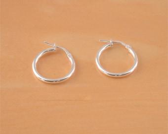 925 Silver Hoop Earrings/18.5mm Hoop Earrings/Creole Style Earrings/Plain Hoop Earrings/Hoop Earrings/Hinge Clip Hoop Earrings/Hoop Earrings