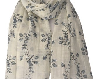 Cream Ivory Scarf with a Navy Blue Floral Vines Print, Ladies Flower Pattern Wrap, Leaf Print Shawl, flowers Leaves Scarf