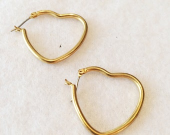 "Vintage Gold Tone 1""  Gold Tone  Earrings Pierced Hearts"