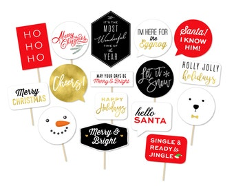 Ugly Sweater Party Props - Christmas Photo Booth - Gold Christmas - Christmas Typography - Elf - Merry and Bright - Printable Photo Props