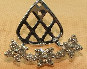 14k white gold diamond earring jackeks