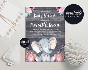 Elephant baby shower invitation Girl safari baby shower invitation printable, Girl Elephant Invitation Jungle Baby Shower Invitation Floral