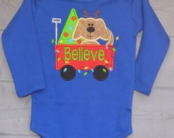 Christmas Dog in Wagon Applique Shirt or Onesie Boy or Girl