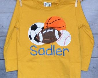 Personalized Sport Balls Football Basketball Baseball Soccer Monogram Applique Shirt or Onesie Boy or Girl