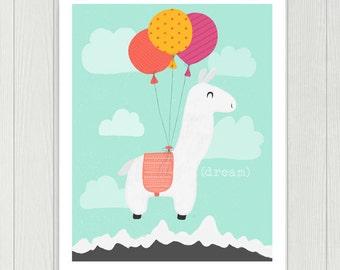 Llama Nursery Print