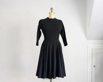 50s Anne Fogarty black wool dress