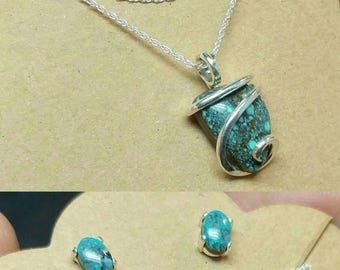 Gemstone Jewelry Gift for Wife   Jewelry Set   Southwestern Jewelry Set   Necklace Earrings   Sterling Silver   Turquoise Necklace Earrings