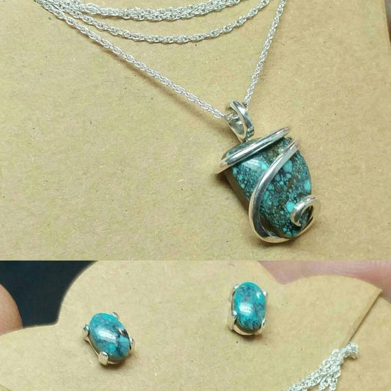 Gemstone Jewelry Gift for Wife | Jewelry Set | Southwestern Jewelry Set | Necklace Earrings | Sterling Silver | Turquoise Necklace Earrings