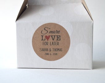 "20 Kraft 2"" Round Sticker Label Tags - Custom Wedding Favor & Gift Tags - S'more Love for Later Kraft"