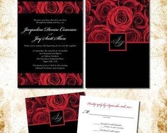 Red Rose Invitations for your Wedding | Deep Crimson with Black Background | Romantic Rich Elegant | Initials Monogram
