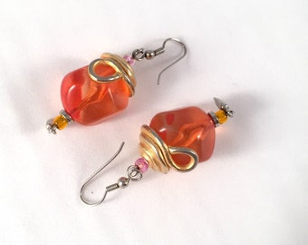 Vintage 1970s mod disco lucite bright orange and gold earrings. Handmade. Long, dangling style. BOLD!