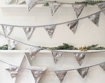 Christmas Silver Sequin Bunting, Silver Bunting, Festive Bunting, Silver Christmas Banner, Bunting