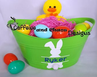 Personalized Easter Basket, Easter Bucket, Oval Tub, Spring