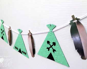 Mint Green Teepee & feather banner. Mint Silver. Photo Prop, Birthday party garland, bunting, baby shower. Boho Tribal Wilderness. Wild One.