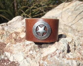 brown leather cuff/texas star cuff/upcycled leather cuff bracelet/womans bracelet/rustic leather cuff/mens bracelet/southwestern cuff/C224